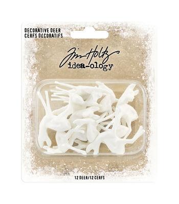 "Idea-Ology Resin Decorative Deer 12/Pkg-White .5""X1.25"" & .75""X1.5"""