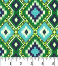 Snuggle Flannel Fabric -Green Navy Aztec