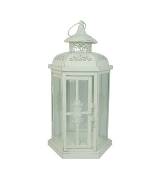 Hudson 43 Candle Light Collection Lantern Distressed White