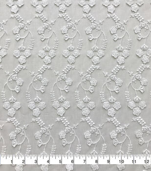 Sew Sweet Dahlia Sheer Mesh Fabric-Trailing Foral Embroidered White