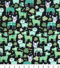 St. Patrick\u0027s Day Print Fabric 44\u0027\u0027-Black with Metallic Lucky Dog