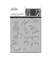 Fab Lab 3 pk 7''x10'' Stencil Sheets-Fruits & Veggies, , hi-res