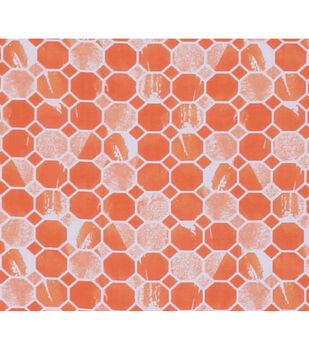 Keepsake Calico Cotton Fabric-Orange Mosaic Honeycomb