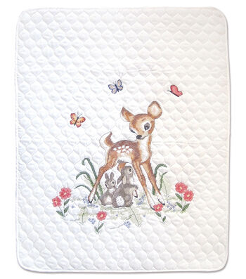 Janlynn 34''x43'' Stamped Quilt Cross Stitch Kit-Baby Deer
