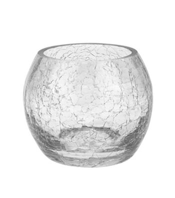 Hudson 43 Candle&Light Collection Round Crackle Glass Candle Holder