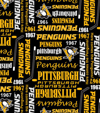 Pittsburgh Penguins Cotton Fabric -Writing