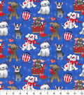 Patriotic Cotton Fabric-Dogs on Blue Glitter