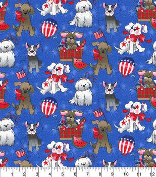 Patriotic Cotton Fabric-Dogs on Blue Glitter