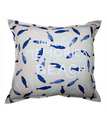 Seaport 18''x18'' Pillow-The Best Memories Are Made At The Beach & Fish