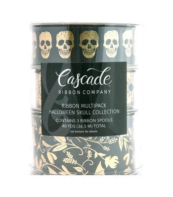 Cascade Halloween Skull 3 pk Ribbons-Skulls, Bats & Foiled Damask