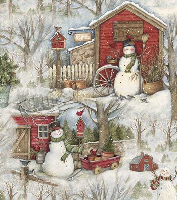 """Christmas Cotton Fabric 43""""-Holiday Barn"""