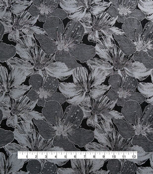 Floral Jacquard Fabric-Blue & Grey