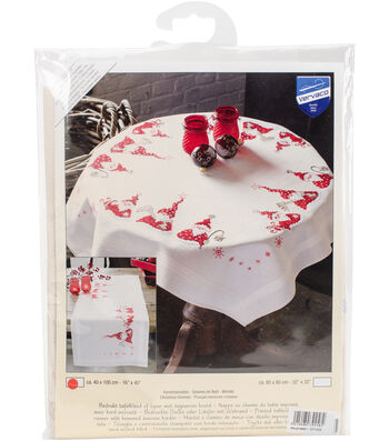 "Gnomes Christmas Table Runner Stamped Embroidery Kit-16""X40"""