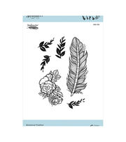 "Spellbinders Cling Stamps By Stephanie Low-Botanical Feather .8"" To 4.3"", , hi-res"