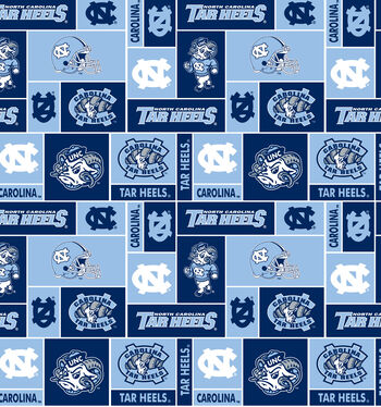 University of North Carolina Tarheels Fleece Fabric -Block