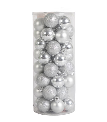 Maker's Holiday Christmas 48 pk 30 mm Shatterproof Ornaments-Silver