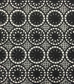 Lace Knit Fabric 48''-Black Medallion Floral