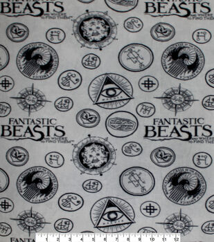 Fantastic Beasts Fleece Fabric-Logo