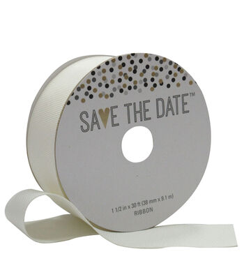 Save the Date 1.5'' X 30' Ribbon-Ivory Grosgrain