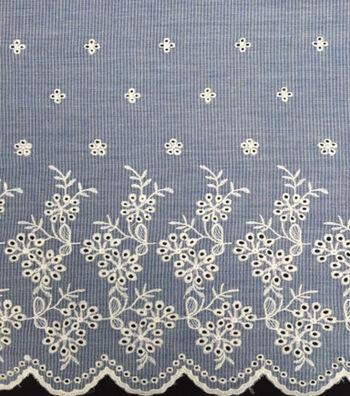 Scalloped Cotton Apparel Fabric 51''-Blue & White Mini Stripes