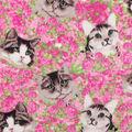 Anti-Pill Plush Fleece Fabric-Floral Photo Real Cat