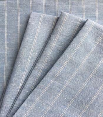 Linen & Linen Look Fabric -Stripes on Light Blue