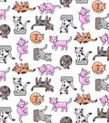 Snuggle Flannel Print Fabric -Crazy Cats