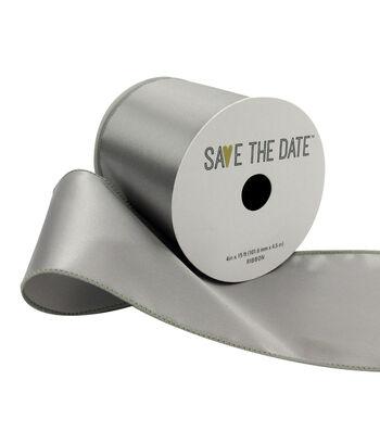 "Save the Date 4"" x 15ft Ribbon-Light Grey Satin"