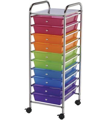 Storage Cart with 10 Drawers-Multi-Color