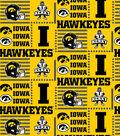 University of Iowa Hawkeyes Cotton Fabric -Patch Logos