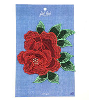 Fab Lab Wearables Large Rose with Leaves Iron-on Applique-Red, , hi-res