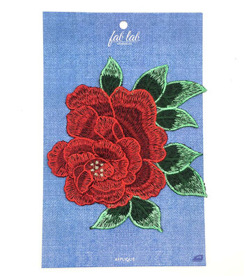 Arge Red Rose With Leaves Applique