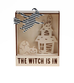 Maker's Halloween Craft LED Wood Table Topper with Witch-The Witch is In