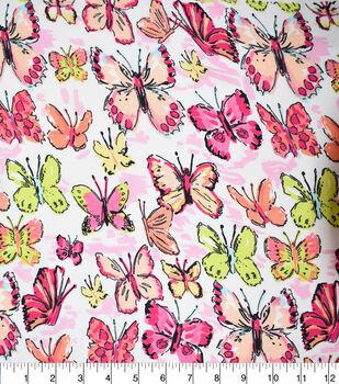 Fast Fashion Dobby Print Fabric-Geranium Butterflies