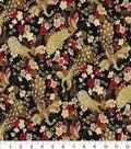 Asian Inspired Cotton Fabric 44\u0022-Floral Birds Lt Blue Metallic