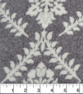 Luxe Fleece Fabric 59\u0027\u0027-Floral on Heathered Gray