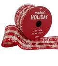 Maker\u0027s Holiday Ribbon 2.5\u0027\u0027x25\u0027-Snowflakes on Red & Ivory Plaid
