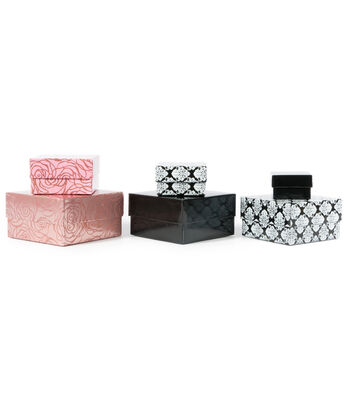 DCWV Designer Set of Nested Boxes: Black, white and pink