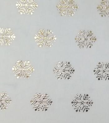 Christmas Soft & Comfy Fleece Fabric-Metallic Gold Snowflakes