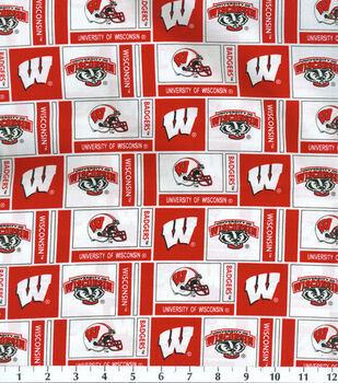 University of Wisconsin Badgers Cotton Fabric -Herringbone