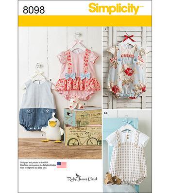 Simplicity Patterns 8098A Infants' Rompers & Sandals-Size XXS-L