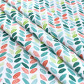 Silky Print Rayon Fabric 53\u0027\u0027-Green & Orange Leaves