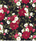 Christmas Cotton Fabric -Poinsettia and Flowers
