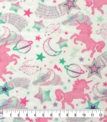 Anti-Pill Plush Fleece Fabric-Pastel Unicorn