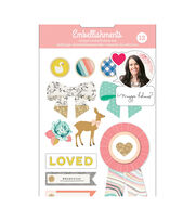 Maggie Holmes Mixed Embellishments 12/Pkg-Brads & Chipboard Shapes, , hi-res