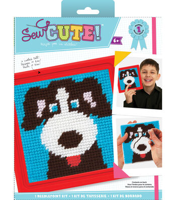 Quincrafts Learn To Sew Needlepoint Kit-Dog