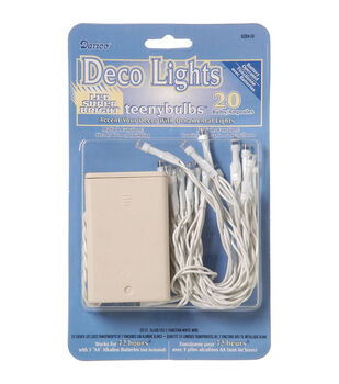 Darice 20 Ct Battery Operated Deco Lights With Teeny Bulbs-White
