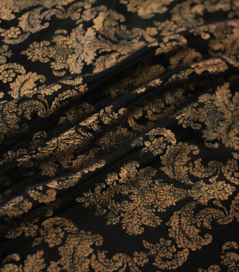 "The Witching Hour Halloween Foil Brocade Panne Fabric 58""-Black/Gold"