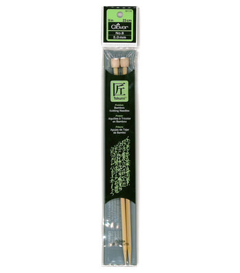 "Clover Bamboo Single Point Knitting Needles 9""-Size 8"