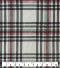 Anti-Pill Plush Fleece Fabric-Champagne, Red & Black Plaid